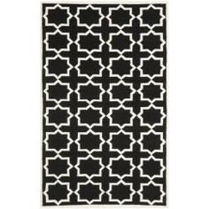 @Overstock - This handmade dhurrie rug features a Moroccan inspired design and dense hand-woven wool pile highlight.  This floor rug has a black background and displays stunning panel colors of ivory.http://www.overstock.com/Home-Garden/Moroccan-Dhurrie-Black-Ivory-Wool-Rug-5-x-8/6830771/product.html?CID=214117 $165.99