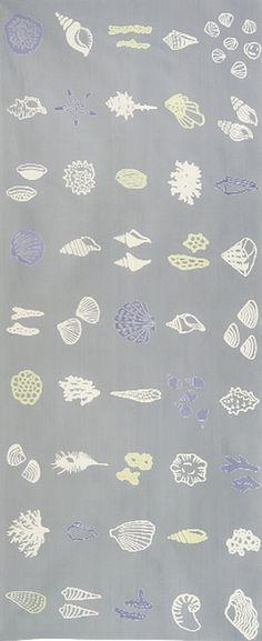 Japanese Tenugui Towel Cotton Fabric, Clams, Shell & Coral, Gray Fabric, Hand Dyed Fabric, Modern Sea Art Wall Hanging, Home Decor, JapanLovelyCrafts Japanese Fabric, Japanese Art, Gray Fabric, Cotton Fabric, Coral Design, Maneki Neko, Sea Art, Typography Prints, Hanging Wall Art