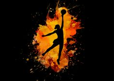 A poster for Displate of a basketball player about to score.