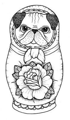 Cute pug tattoo design by Kim-Anh Nguyen. #neotraditional #tattooflash
