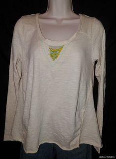 Womens Free People Top M Medium Beige Beaded Scoop Neck Long Sleeve Slub Knit | eBay