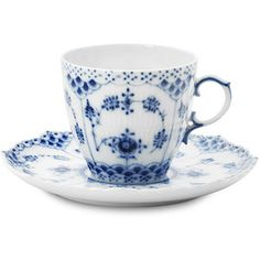 Royal Copenhagen Blue Fluted Full Lace Teacup/Saucer