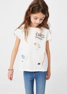 Message cotton t-shirt | MANGO KIDS