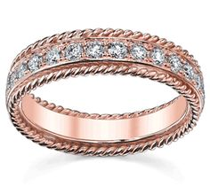 Custom Made Rose Gold Eternity Ring with Ropes.