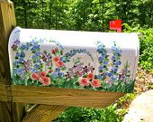 Beautiful, Hand Painted Mailbox with WILDFLOWERS,   Free Personalizing - Designer Post style Mailbox - Functional Art - Original design