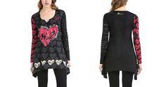 #Desigual Shirt - Modell Minute Rep, Muster: Herzlich und Textprints, schwarz.