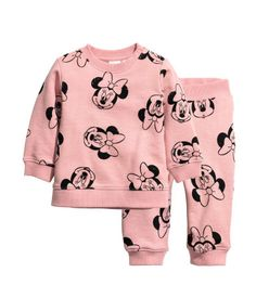 Sweatshirt and Joggers | Powder pink/Minnie Mouse | KIDS | H&M US