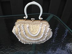 Vintage 1960's Straw Handbag Purse with Plastic Dangle Beads Made in italy by tiffanyroseantiques on Etsy