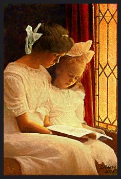 A Good Book: Vintage photograph, colorized and textured