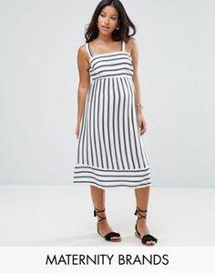 New Look Maternity   New Look Maternity Stripe Midi Dress