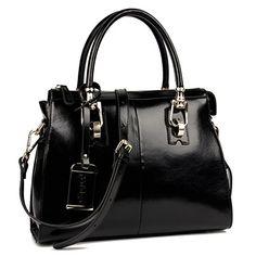 Yafeige Womens/Lady's Handbag Vintage Luxury Wax Genuine Leather Tote Shoulder Bag Satchel Purse(Black) - http://leather-handbags-shop.com/yafeige-womensladys-handbag-vintage-luxury-wax-genuine-leather-tote-shoulder-bag-satchel-purseblack/