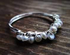 Sterling Silver Pearl Ring Wire wrapped by thelittlehappygoose,