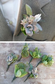 succulent boutonnieres Like how. They're all different