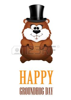 Illustration of Happy Groundhog Day greeting Cards.
