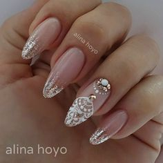 faded french nails With Diamonds - faded french nails With . - faded french nails With Diamonds – faded french nails With Diamonds - French Nails, Love Nails, Pretty Nails, Mandala Nails, Bride Nails, Wedding Nails Design, Wedding Manicure, Luxury Nails, Diamond Nails