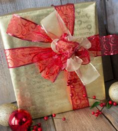 Pretty paper, pretty ribbons - Christmas gift wrapping.