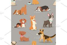Different dogs breed cute puppy characters seamless pattern. Pet Icons