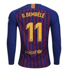 FAN SHIRT Ousmane Dembele  11 FC Barcelona 2018-2019 Home Jersey Long  Sleeve Free Shipping d7f4c7709db08