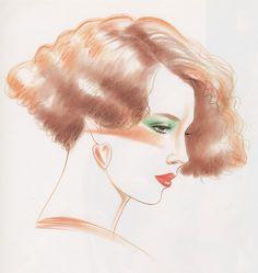 Kojiro Kumagai From Illustration for Hair and Makeup Glam Rock Makeup, Sculpture Art, Sculptures, 1980s Art, Face Illustration, 80s Aesthetic, Face Sketch, Retro Pop, Airbrush Art