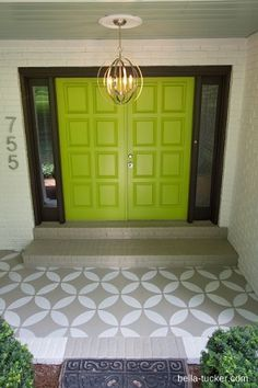 Pool house painted door and front porch makeover by Bella Tucker Decorative Finishes with Royal Design Studio stencils on concrete floor Concrete Porch, Concrete Floors, Front Porch Makeover, Diy Front Porch Ideas, Moroccan Stencil, Moroccan Design, House With Porch, Painted Doors, Painted Rug