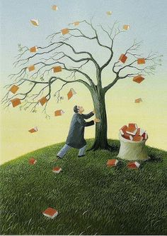 Fall books - illustration by: Soizick Meister Reading Tree, I Love Reading, Reading Room, I Love Books, Books To Read, My Books, Illustrations, Book Illustration, Book Tree