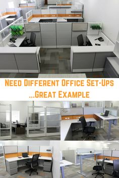 modern office design showing different office setups for different employee needs standing desk for some glass office with desks for others smaller