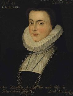 Artwork by British School, 16th Century, Portrait an Anne Blythe (1536-1615), wife of Peter Osborn, bust-length, in a black dress with a ruff and gold chain, Made of oil on panel