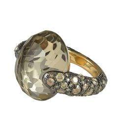 Pomellato Tango Collection Smokey Quartz Brown Diamond Ring | From a unique collection of vintage dome rings at https://www.1stdibs.com/jewelry/rings/dome-rings/