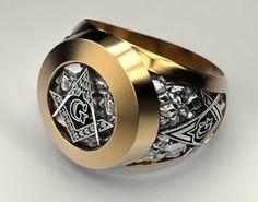 Masonic Ring Freemason Symbol G Templar Freemasonry, signet ring, silver gold Cool Rings For Men, Unique Rings, Two Tone Engagement Rings, Masonic Jewelry, Templer, Illuminati, Blue Topaz Ring, Wedding Rings For Women, Bracelets For Men