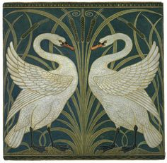 'Swan, Rush & Iris' by Walter Crane HIGH RESOLUTION. Walter Crane English artist and book illustrator. Detail of wallpaper Bodycolour and Watercolour ____ Digital compilation, restoration or enhancement by plumleaves. Azulejos Art Nouveau, Motifs Art Nouveau, Motif Art Deco, Art Nouveau Tiles, Walter Crane, Arts And Crafts Movement, Papier Peint Art Nouveau, Swan Wallpaper, Bathroom Wallpaper