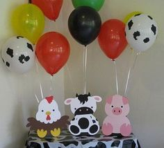 Make one special photo charms for your pets, compatible with your Pandora bracelets. Barn Animals Birthday Party Table Decorations - Balloon Holders - Farm Animals by on Etsy Farm Animal Party, Farm Animal Birthday, Barnyard Party, Cowboy Birthday, Farm Birthday, Birthday Animals, Birthday Party Table Decorations, Birthday Party Tables, 2nd Birthday Parties