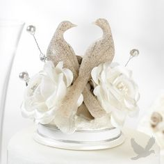 Taupe Rose and Doves Cake Topper