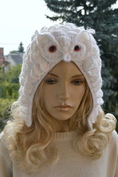 Crocheted white  cap Snowy Owl o by DosiakStyle on Etsy