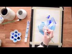 Beginner's Watercolor Tutorial~ Painting a Crystal Cluster - YouTube