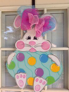 Easter Bunny With Egg. 3d, Happy Easter Door Hanger, Rabbit Door Hanger, Wooden…