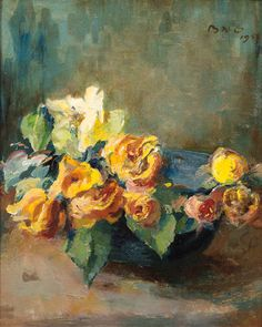 View Yellow roses in a bowl By Betsy Westendorp-Osieck; oil on canvas; 46 x 38 cm; Access more artwork lots and estimated & realized auction prices on MutualArt. Acrylic Painting Flowers, Acrylic Art, Flower Paintings, Oil Paintings, Orange Flowers, Yellow Roses, White Roses, Still Life Flowers, Flower Art