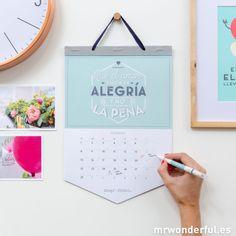 """Calendario de pared """"2016 y todas aquellas cosas geniales que voy a hacer"""" #mrwonderfulshop #wall #calendar"""