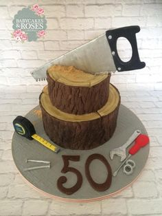 Carpenter/Wood Themed Birthday cake Carpenter/Wood Themed Birthday cake – Cake by Babycakes & Roses Cakecraft Birthday Cakes For Men, Adult Birthday Cakes, Themed Birthday Cakes, Cakes For Boys, Themed Cakes, Cupcakes, Cupcake Cakes, Dad Cake, Tool Cake