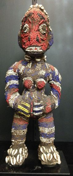 Statue Beaded African Bamileke Statue from Cameroon