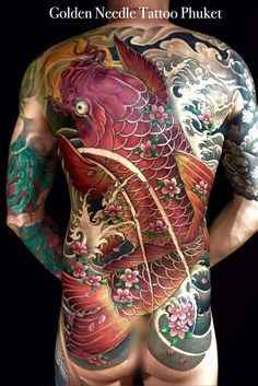 Red Koi tattoo 6 sessions 33 hrs work done by tattooist Chart .Thank you for trusting us Golden Needle Tattoo. Asian Tattoos, Back Tattoos, Body Art Tattoos, Tattoos For Guys, Cool Tattoos, Koi Fish Tattoo, Full Body Tattoo, Traditional Japanese Tattoos, Japanese Tattoo Art