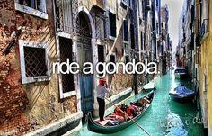 bucket list: ride a gondola.