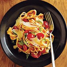 Though we paired this chunky sauce with fettuccine, it would also be nice with short pasta shapes, like penne, gemelli, or farfalle. For a more dramatic presentation, use multicolored cherry tomatoes, or a combination of cherry and pear (or teardrop-shaped) tomatoes.