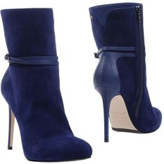 Le Silla Ankle Boots ($455) ❤ liked on Polyvore featuring shoes, boots, ankle booties, blue, leather bootie, zip ankle boots, blue booties, round toe ankle boots and buckle booties
