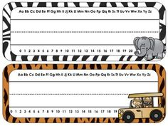 Safari Theme Desk Tags and Name Plates {EDITABLE} Set of 50 tags, great for desk tags or classroom labels.
