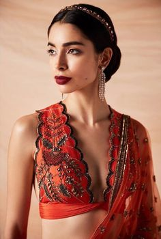 Indian blouse designs that make for perfect bridal inspiration for you. Raight off the runway. Sari Blouse, Saree Blouse Designs, Indian Blouse Designs, Sari Design, Indian Dresses, Indian Outfits, Indian Clothes, Black Sheer Blouse, Bridal Outfits