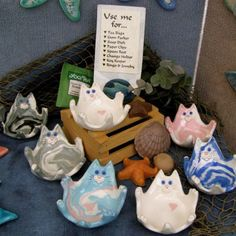 Cat shaped dish-these are designed out of clay, idea to do in fused glass.