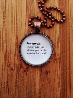 Traveler Necklace – Word Definition Pendant – Fernweh Gift for Writer Gift for Book Lover Traveler Gift World Traveler Traveling