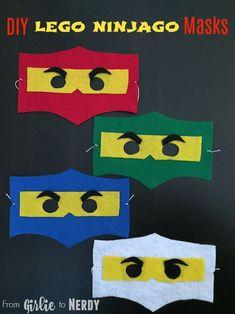 DIY Lego Ninjago Masks with Free Template - From Girlie to Nerdy Ninja Birthday Parties, Lego Birthday, Lego Parties, Birthday Ideas, Pokemon Lego, Diy For Kids, Crafts For Kids, Ninjago Party, Lego Ninjago Cake