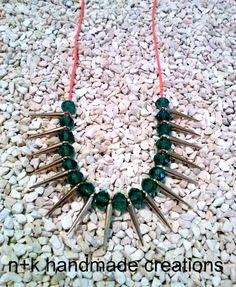 Handmade necklace with green crystal beads and by thenkcreations