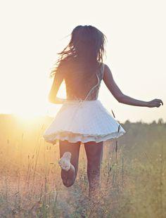 dress, field, girl, hair, photography